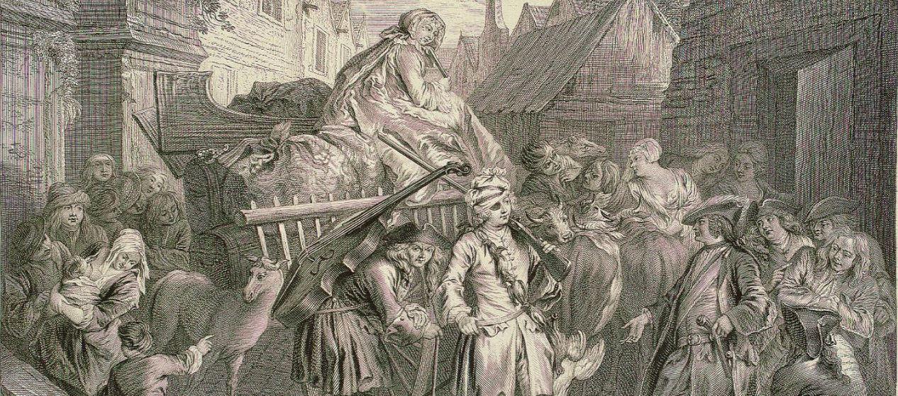 Estampe du Roman comique de Scarron représentant l'arrivée des Comédiens dans la ville du Mans (extrait), XVIIIe siècle.